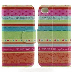 iPhone 4S 4 Slim Flip Design Wallet Case (Strips)