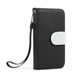 iPhone 4S / 4 Anti-Slip Flip Leather Wallet Case with Stand (Black)