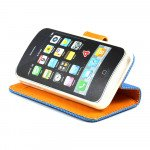 Wholesale iPhone 4S / 4 Anti-Slip Flip Leather Wallet Case with Stand (Blue-Orange)