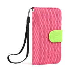 iPhone 4S / 4 Anti-Slip Flip Leather Wallet Case with Stand (Pink-Green)
