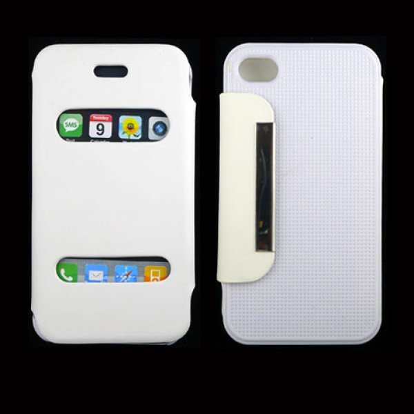 Wholesale iPhone 4S / 4 Slim Quick Answer Flip Leather Case (White)