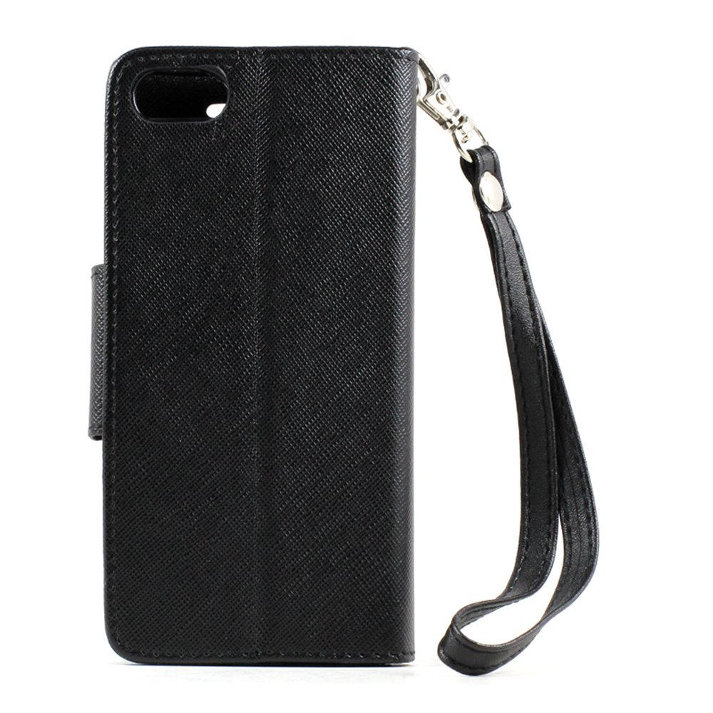 Wholesale iphone 5s 5 diary flip leather wallet case w stand and strap black black - Iphone 5s leather case ...