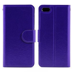 iPhone 5S 5 Slim Flip Leather Wallet Case (Purple)