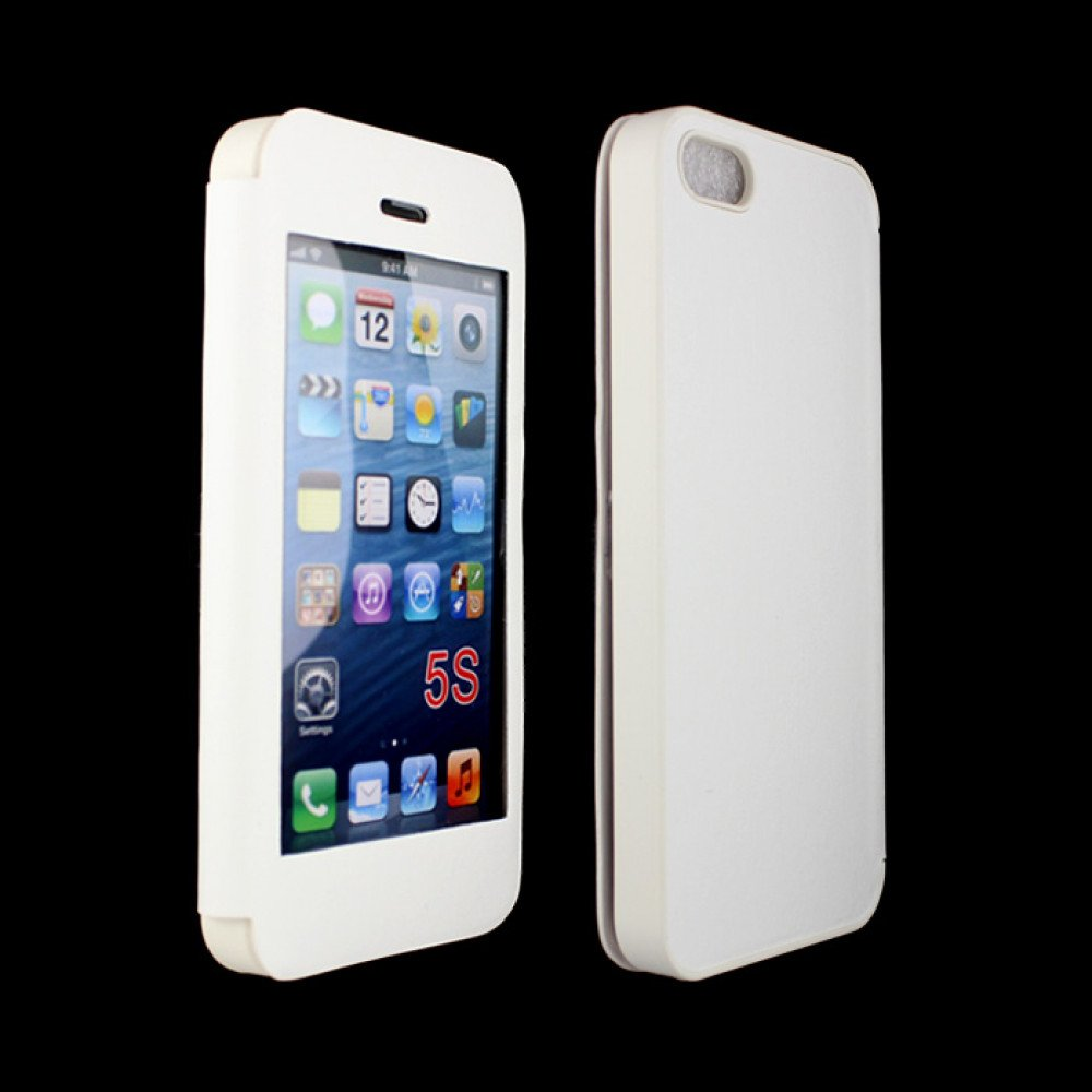 wholesale iphone 5 5s slim touch screen flip leather case white. Black Bedroom Furniture Sets. Home Design Ideas