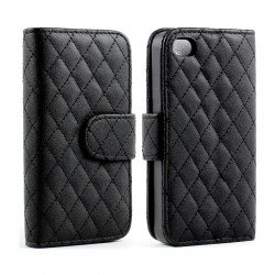 iPhone 5 5S Square Flip Leather Wallet Case with Stand  (Black)