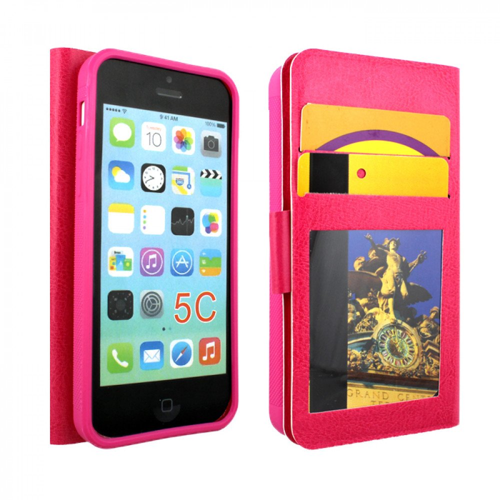 cheap iphone 5c cases iphone 5c slim flip leather wallet pink 13790
