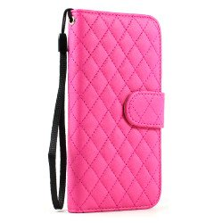 iPhone 6 4.7 Quilted Flip PU Leather Wallet Case with Strap (Hot Pink)