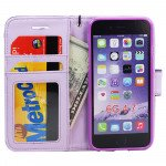 Wholesale iPhone 6 4.7 Quilted Flip PU Leather Wallet Case with Strap (Purple)