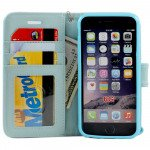 Wholesale iPhone 6 4.7 Folio Flip Leather Wallet Case with Strap (Blue)