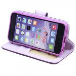Wholesale iPhone 6 Plus 5.5 Folio Flip Leather Wallet Case with Strap (Purple)