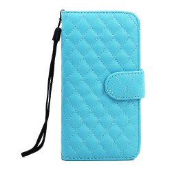 iPhone 6 Plus 5.5 Quilted Flip PU Leather Wallet Case with Strap (Blue)