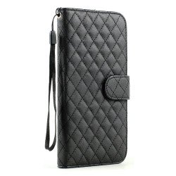 iPhone 6 Plus 5.5 Quilted Flip PU Leather Wallet Case with Strap (Black)