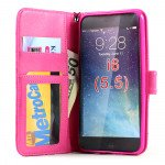 Wholesale iPhone 6 Plus 5.5 Quilted Flip PU Leather Wallet Case with Strap (Hot Pink)