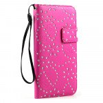Wholesale iPhone 6 Plus 5.5 Diamond Flip PU Leather Wallet Case with Strap (Hot Pink)
