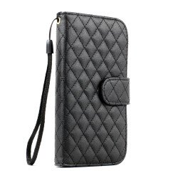Galaxy S3 /i9300 Square Wallet Flip Leather Case with Strap and Stand (Black)