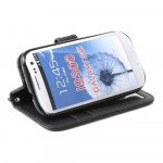 Wholesale Galaxy S3 /i9300 Square Wallet Flip Leather Case with Strap and Stand (Black)