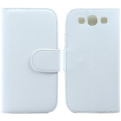 Galaxy S3 /i9300 Simple Flip Leather Wallet Case with Stand  (White)