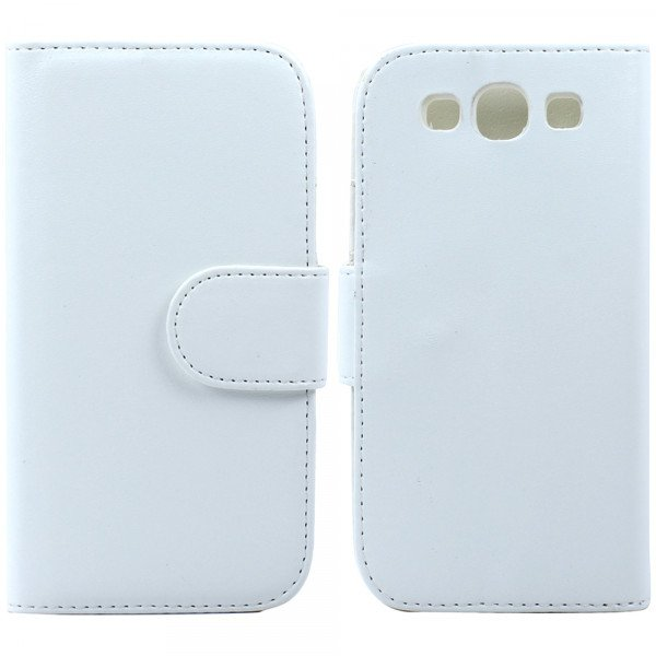 Wholesale Galaxy S3 /i9300 Simple Flip Leather Wallet Case with Stand  (White)