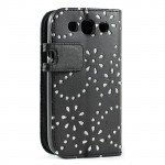 Wholesale Galaxy S3 /i9300 Diamond Flip Leather Wallet Case with Stand (Black)