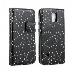 Samsung Galaxy S5 Diamond Flip Leather Wallet Case with Stand (Black)