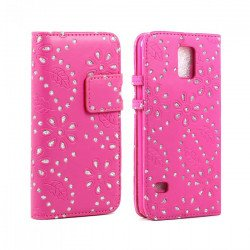 Samsung Galaxy S5 Diamond Flip Leather Wallet Case with Stand (Hot Pink)