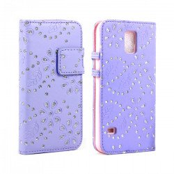 Samsung Galaxy S5 Diamond Flip Leather Wallet Case with Stand (Purple)