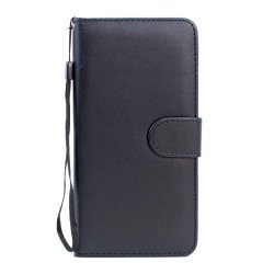 Samsung Galaxy S6 Edge Plus Folio Flip Leather Wallet Case with Strap (Black)