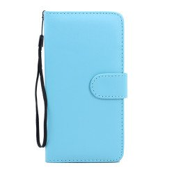 Samsung Galaxy S6 Edge Plus Folio Flip Leather Wallet Case with Strap (Blue)