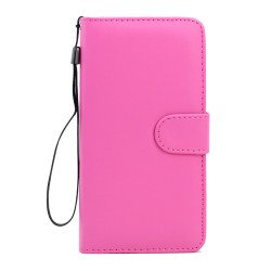 Samsung Galaxy S6 Edge Plus Folio Flip Leather Wallet Case with Strap (Hot Pink)