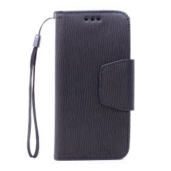 Galaxy S7 Edge Color Flip Leather Wallet Case with Strap (Black Black)