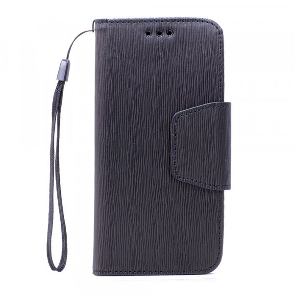 Wholesale Galaxy S7 Edge Color Flip Leather Wallet Case with Strap (Black Black)