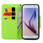 Wholesale Galaxy S7 Edge Color Flip Leather Wallet Case with Strap (Blue Green)