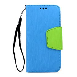 Galaxy S7 Edge Color Flip Leather Wallet Case with Strap (Blue Green)