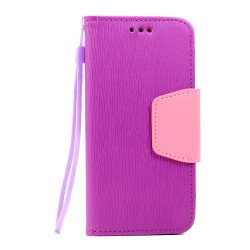 Galaxy S7 Edge Color Flip Leather Wallet Case with Strap (Purple Pink)