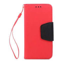 Galaxy S7 Edge Color Flip Leather Wallet Case with Strap (Red Black)