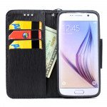 Wholesale Galaxy S7 Edge Color Flip Leather Wallet Case with Strap (Red Black)