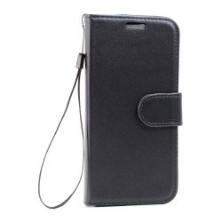 Galaxy S7 Edge Folio Flip Leather Wallet Case with Strap (Black)