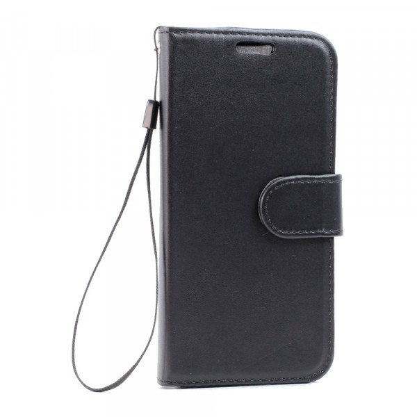 Wholesale Galaxy S7 Edge Folio Flip Leather Wallet Case with Strap (Black)