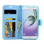 Wholesale Galaxy S7 Edge Folio Flip Leather Wallet Case with Strap (Blue)