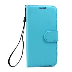 Galaxy S7 Edge Folio Flip Leather Wallet Case with Strap (Blue)