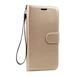 Galaxy S7 Edge Folio Flip Leather Wallet Case with Strap (Champagne Gold)