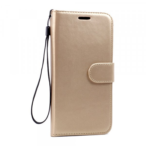 Wholesale Galaxy S7 Edge Folio Flip Leather Wallet Case with Strap (Champagne Gold)