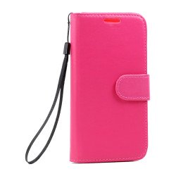 Galaxy S7 Edge Folio Flip Leather Wallet Case with Strap (Hot Pink)