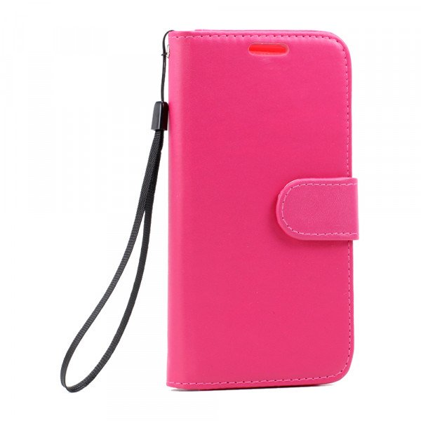 Wholesale Galaxy S7 Edge Folio Flip Leather Wallet Case with Strap (Hot Pink)