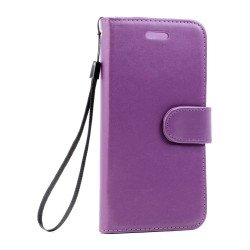 Galaxy S7 Edge Folio Flip Leather Wallet Case with Strap (Dark Purple)