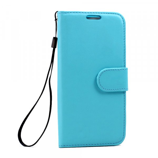 Wholesale Galaxy S7 Folio Flip Leather Wallet Case with Strap (Blue)