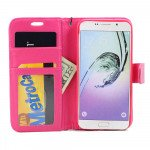 Wholesale Galaxy S7 Folio Flip Leather Wallet Case with Strap (Hot Pink)