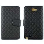 Wholesale Galaxy Note 2 Square Flip Leather Wallet Case with Stand (Black)