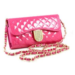 iPhone 6 Plus Note 4 Universal Diamond Flip Wallet Strap Purse Case (Hot Pink)