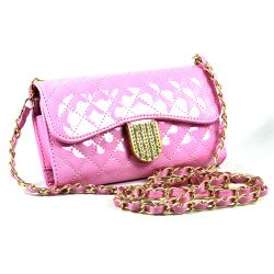 iPhone 6 Plus Note 4 Universal Diamond Flip Wallet Strap Purse Case (Pink)